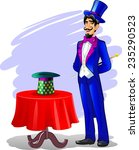 man dressed as a magician with... | Shutterstock .eps vector #235290523