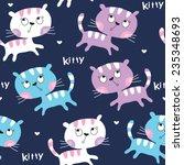 Stock vector seamless cute cat pattern vector illustration 235348693