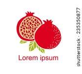pomegranate fruit slice  whole  ... | Shutterstock .eps vector #235350877