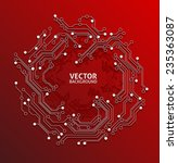 circuit board red background | Shutterstock .eps vector #235363087
