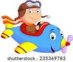little boy operating a plane | Shutterstock .eps vector #235369783