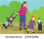 nanny with boy  girl and baby... | Shutterstock .eps vector #23543086