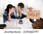 young couple worried need help... | Shutterstock . vector #235460797