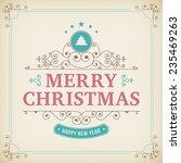 merry christmas vintage... | Shutterstock .eps vector #235469263