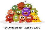 cartoon bacteria colony | Shutterstock .eps vector #235591297