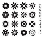 set of black geometric flowers | Shutterstock .eps vector #235595797
