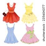 set of festive dresses for girls | Shutterstock .eps vector #235604377