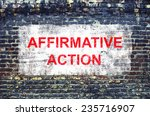 Small photo of Affirmative action. Poster concept.