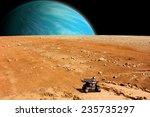 Small photo of A depiction of a rover exploring an airless moon. An water covered world rises over the horizon. Elements of this image furnished by NASA.