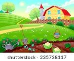 Постер, плакат: Funny countryside scenery with