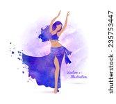 Belly Dancer. Watercolor Art....