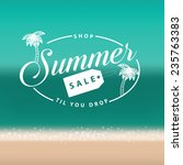 summer sale stamp on beach... | Shutterstock .eps vector #235763383