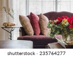 Row Of Pillows On Red Sofa Wit...
