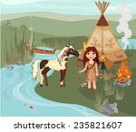 indian girl and spotted horse | Shutterstock .eps vector #235821607
