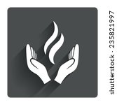 energy hands sign icon. power...
