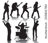 set of black silhouettes of... | Shutterstock .eps vector #235831783