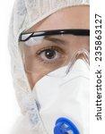 scientist wearing protective... | Shutterstock . vector #235863127