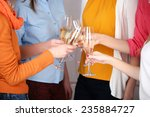 woman hands with glasses of... | Shutterstock . vector #235884727