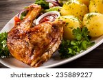 Barbecued Chicken Leg With...