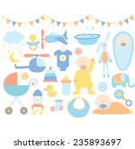 baby boy shower  | Shutterstock .eps vector #235893697