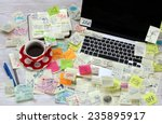 office desk with laptop covered ... | Shutterstock . vector #235895917