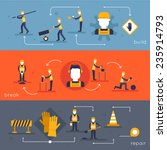 road worker flat banner set... | Shutterstock .eps vector #235914793
