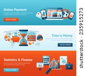 bank flat banner set with... | Shutterstock .eps vector #235915273