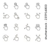 touch gestures icons outline on ... | Shutterstock .eps vector #235916803