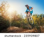 downhill cycling. man high jump ... | Shutterstock . vector #235939807