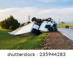 The Truck Lies In A Ditch Afte...