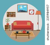living room interior flat... | Shutterstock .eps vector #235984957