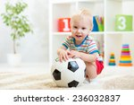 Smiling Kid Boy With Foot Ball...