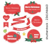 christmas labels red | Shutterstock .eps vector #236146663