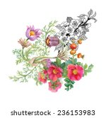 watercolor wildflowers on white ... | Shutterstock .eps vector #236153983