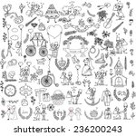 doodle wedding set for... | Shutterstock .eps vector #236200243