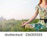 pretty woman meditate sitting...   Shutterstock . vector #236305333
