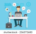 man is working with laptop.... | Shutterstock .eps vector #236372683