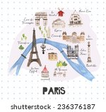 hand drawn watercolor paris map ... | Shutterstock . vector #236376187