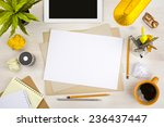 top view of office desk with... | Shutterstock . vector #236437447