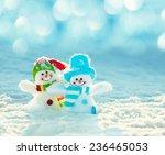 Snowman On Snow. Christmas...