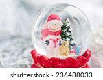 A Snow Globe With Snowman On...