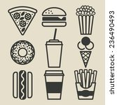 fast food icons set   ... | Shutterstock . vector #236490493