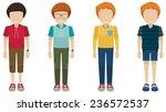 four faceless boys on a white...   Shutterstock .eps vector #236572537