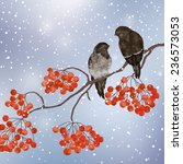 Winter Card  With Two Birds On...