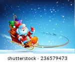 santa claus in a sleigh pulled... | Shutterstock .eps vector #236579473
