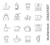 coffee outline icons set with... | Shutterstock . vector #236625307