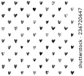 Stock vector hand drawn doodle seamless pattern with hearts 236720647