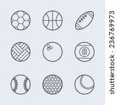 Set Of Simple Black Sport Ball...