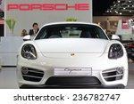 Постер, плакат: Porsche cayman displayed in