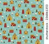 snowy village retro seamless... | Shutterstock .eps vector #236861353
